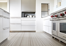 Oyster fitted flooring in a kitchen (Unnatural Flooring - UF2003)